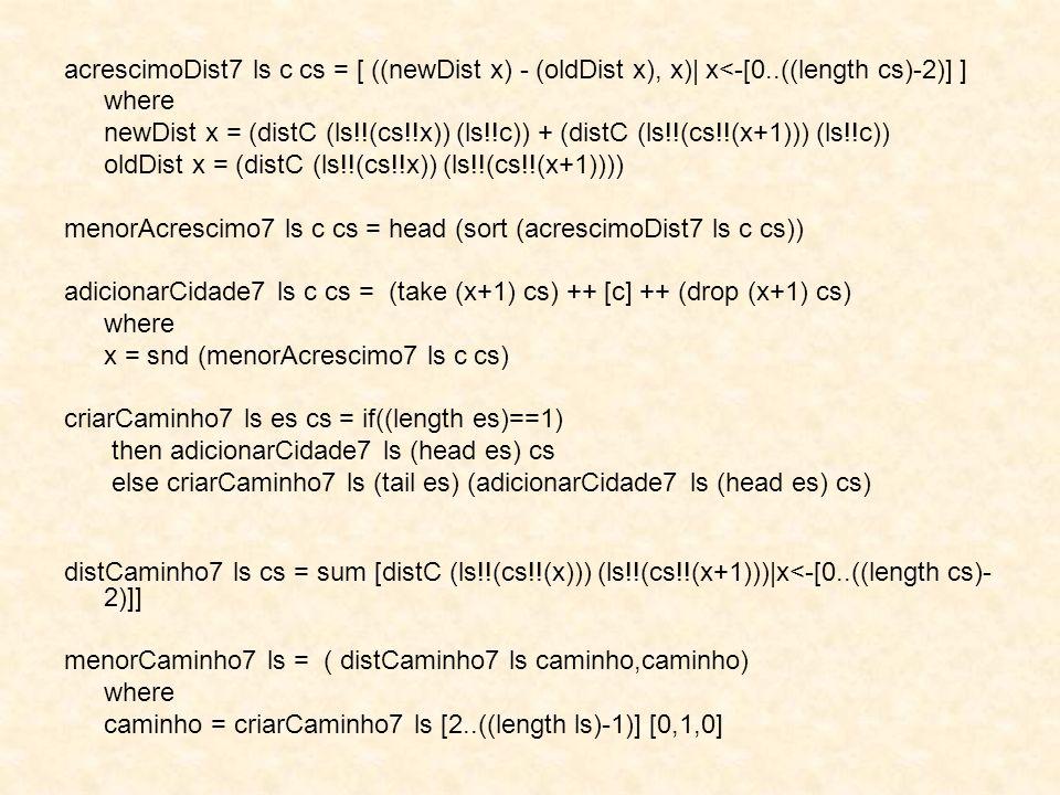 acrescimoDist7 ls c cs = [ ((newDist x) - (oldDist x), x)| x<-[0